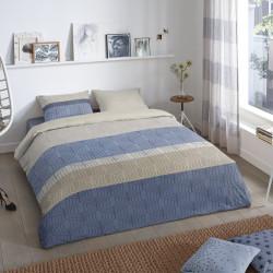 Lenjerie de pat pentru doua persoane, Good Morning Valence, 100% bumbac, 3 piese, gri/albastru