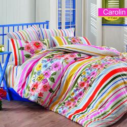 Lenjerie de pat pentru o persoana Carolin v1, Majoli Home Collection, 3 piese, 160x240 cm, bumbac ranforce, multicolor