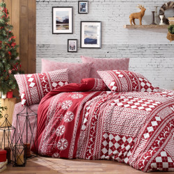 Lenjerie de pat pentru o persoana Deer - Claret Red, Nazenin, 3 piese, bumbac ranforce, visiniu