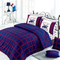 Lenjerie de pat pentru o persoana, Red&Blue, Beverly Hills Polo Club, 3 piese, 160 x 240 cm, 100% bumbac ranforce, multicolora
