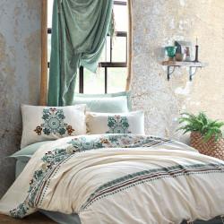 Lenjerie de pat pentru o persoana Reyya - Mint, Cotton Box, 4 piese, bumbac ranforce, verde mentol