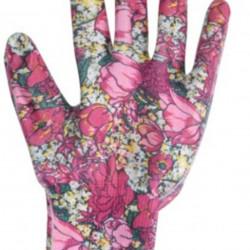 Manusi pentru gradinarit Flower, L, poliester, roz