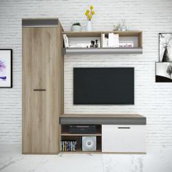 Mobilier living, Bedora, City 9043, 170 x 53 x 185.5 cm, PAL, sonoma/alb