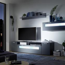 Mobilier living, New Vision, 1 x polita, 1 x comoda TV, 1 dulap suspendat, PAL/MDF, negru