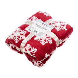 Patura fleece cu blanita Flake, Heinner Home, 127x150 cm, 100% poliester, rosu
