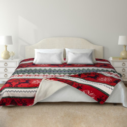 Patura fleece cu blanita Reindeer, Heinner Home, 200 x 220 cm, 100% poliester, multicolora