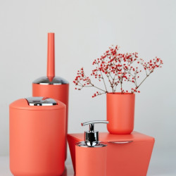 Perie pentru toaleta cu suport Brasil Coral, Wenko, 10 x 37 cm, elastomer (TPE), corai