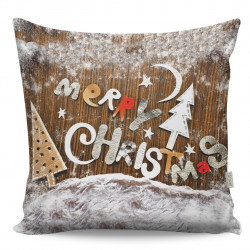 Perna decorativa Merry Christmas, Gravel, 43x43 cm, policoton, multicolor
