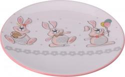 Platou pentru servire Bunny, Ø20 cm, dolomita, multicolor