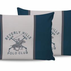 Set 2 fete de perna 50x70, 100% bumbac, Beverly Hills Polo Club, Alb/Verde/Gri