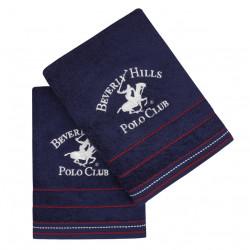 Set 2 prosoape de baie, Beverly Hills Polo Club, 401, 70x140 cm, 100% bumbac, bleumarin
