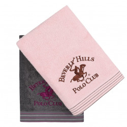 Set 2 prosoape de baie, Beverly Hills Polo Club, 405 Dark Grey Pink, 70 x 140 cm, 100% bumbac