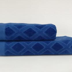 Set 2 prosoape de baie Karo, Class, 50x100 cm/70x140 cm, 100% bumbac, albastru