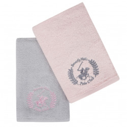 Set 2 prosoape de maini, Beverly Hills Polo Club, 402 - Pink, Light Grey, 50x90 cm, 100% bumbac, roz/gri