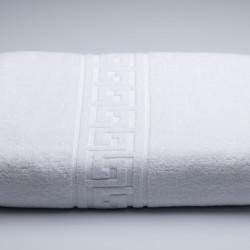 Set 2 prosoape pentru fata, Greek Border Boutique, 50 x 90 cm, 100% bumbac cardat, 500 gr/mp, alb