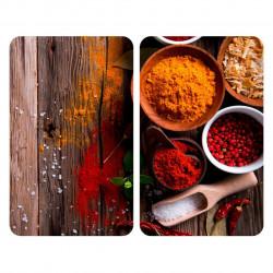 Set 2 protectii universale pentru aragaz Spice XL, Wenko, 1.8 x 40 x 52 cm, negru/rosu