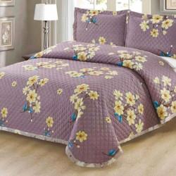 Set Cuvertura de Pat + 2 Fete de Perna, Bumbac Tip Finet, Purple Garden - CBC-06