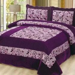 Set Cuvertura de Pat din Catifea + 2 Fete de Perna, Pat 2 Persoane, Purple Floral - CCC-25