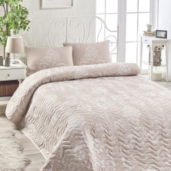 Set cuvertura de pat dubla, EnLora Home, Kralice Mink, 3 piese, 65% bumbac, 35% poliester,roz/alb