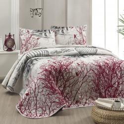 Set cuvertura de pat dubla matlasata, Eponj Home, Palvin White, 3 piese, 65% bumbac, 35% poliester, multicolor