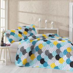 Set cuvertura de pat matlasata, Eponj Home, Damla Mint, 2 piese, 65% bumbac, 35% poliester, multicolor