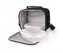 Set geanta termoizolanta pentru pranz si 2 caserole 0.6 L, 20x13x17 cm, poliester, negru