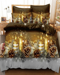 Set Lenjerie Crăciun, Bumbac Tip Finet, Cu Elastic, Pat 2 Persoane, Christmas Light, FNJEC-06