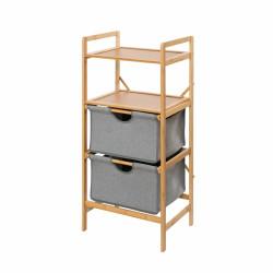 Suport etajat cu 2 sertare mobil Bahari, Wenko, 44 x 96 cm, bambus/poliester/bumbac, natur/gri