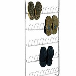 Suport incaltaminte cu montare pe usa Wenko Rack, 18 perechi, 59 x 151 cm, metal cromat/polivinilclorid, argintiu