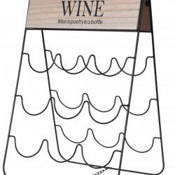 Suport pentru 9 sticle de vin Wine, 30x26x49 cm, metal, negru