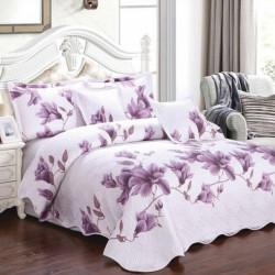 Set Cuvertura Bumbac + 4 Fete de Perne, Purple Flower - E-S32