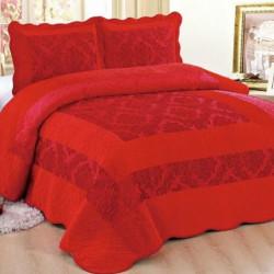 Set Cuvertura de Pat din Catifea + 2 Fete de Perna, Pat 2 Persoane, Dark Red - CCC-07
