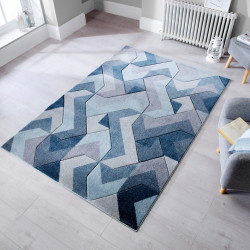 Covor lucrat manual Aurora Denim Blue, Flair Rugs, 160 x 230 cm, 100% polipropilena, albastru