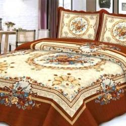 Cuvertura de pat + 2 Fete de Perne, Bumbac Tip Finet, Imprimata, Pat 2 persoane, CFI-12