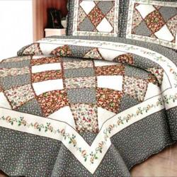 Cuvertura de pat + 2 Fete de Perne, Bumbac Tip Finet, Imprimata, Pat 2 persoane, CFI-30