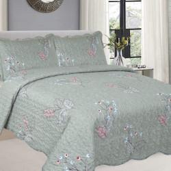 Cuvertura de pat + 2 Fete de Perne, Bumbac Tip Finet, Imprimata, Pat 2 persoane, CFI-79
