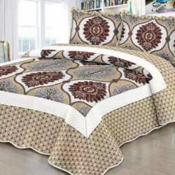 Cuvertura de pat + 2 Fete de Perne, Bumbac Tip Finet, Imprimata, Pat 2 persoane, CFI-101