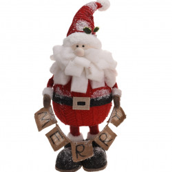 Decoratiune Santa holding rope w word merry, 25x26x64 cm, polistiren, multicolor