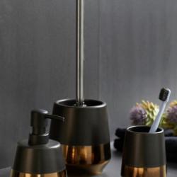 Dozator sapun lichid Brandol, Wenko, 450 ml, ceramica, negru/auriu