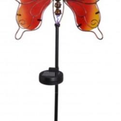 Lampa de gradina Butterfly, 25x9x105 cm, metal, rosu