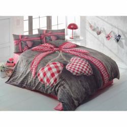 Lenjerie de pat dubla Lovebox Red 1, Cotton Box, 4 piese, 240 x 260 cm, 100% bumbac