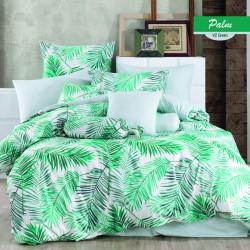 Lenjerie de pat dubla Palms Green, Majoli Home Collection, 4 piese, 240x260 cm, bumbac ranforce, verde