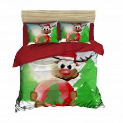 Lenjerie de pat dubla, Pearl Home, Reindee-412, 4 piese, amestec bumbac