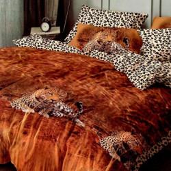 Lenjerie de Pat Finet Satinat, 6 Piese, Leopard, FNM-118