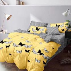 Lenjerie de Pat Finet Satinat, 6 piese, Yellow Butterfly - FNY-34
