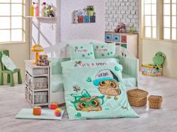 Lenjerie de pat pentru copii, 4 piese, 100% bumbac poplin, Hobby, Coolbaby, verde