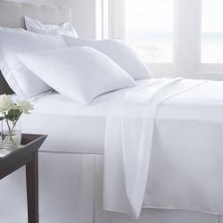 Lenjerie de pat pentru doua persoane, Boutique Percale, 4 piese, policoton, TC 200, 130 gr/mp, alb