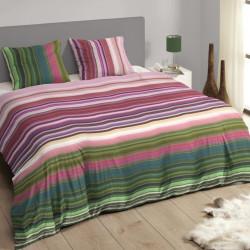 Lenjerie de pat pentru doua persoane Descanso Ryanna, 100% bumbac satinat, 3 piese, multicolora