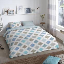 Lenjerie de pat pentru doua persoane, Good Morning Nieck, 100% bumbac, 3 piese, gri/bleu