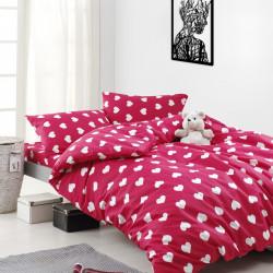 Lenjerie de pat pentru doua persoane, Mijolnir, Chloe, 100% bumbac ranforce, 3 piese, rosu/alb